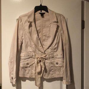 WHBM Beige Long Sleeve Shirt Jacket